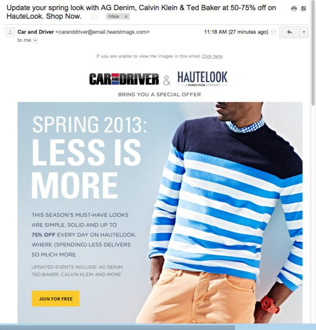 Update your spring look with AG Denim, Calvin Klein & Ted Baker at 50-75% off on HauteLook. Shop Now. - mitchspeers@gmail.com - Gmail